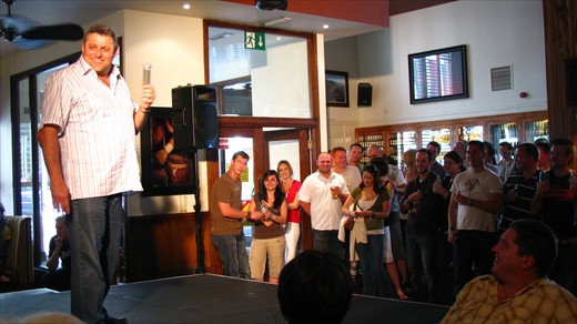 Barry Hilton with the crowd in London