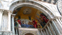 Mosaics on the front of the Basillica