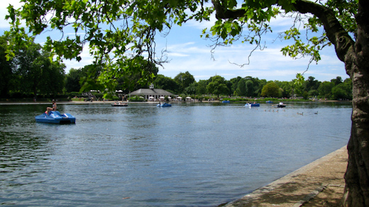Looking across the Serpentine at the Lido